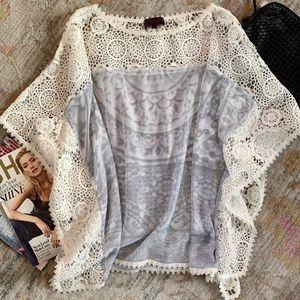 Hale Bob Crochet and Sheer Boho Top